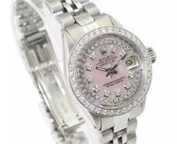 Rolex Ladies Pink Datejust Diamond Watch