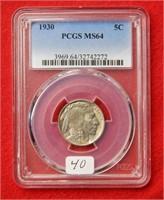1930 Buffalo Nickel PCGS MS64