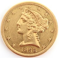 1898-S 90% GOLD $5 LIBERTY HEAD COIN