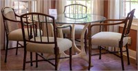 """Rattan glass top table and 4 chairs 48"""" Diameter"""