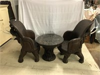 2 Hand Carved Elephant Chairs w/matching table