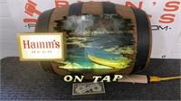 Rare Vintage Hamm's beer on tap lighted barrel