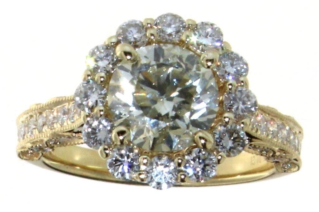 14kt Gold 3.22 ct Round Brilliant Diamond Ring