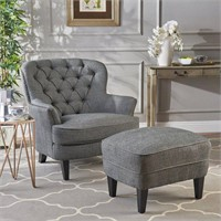 Button Tufted Upholstered Club Chair W/ Footstool